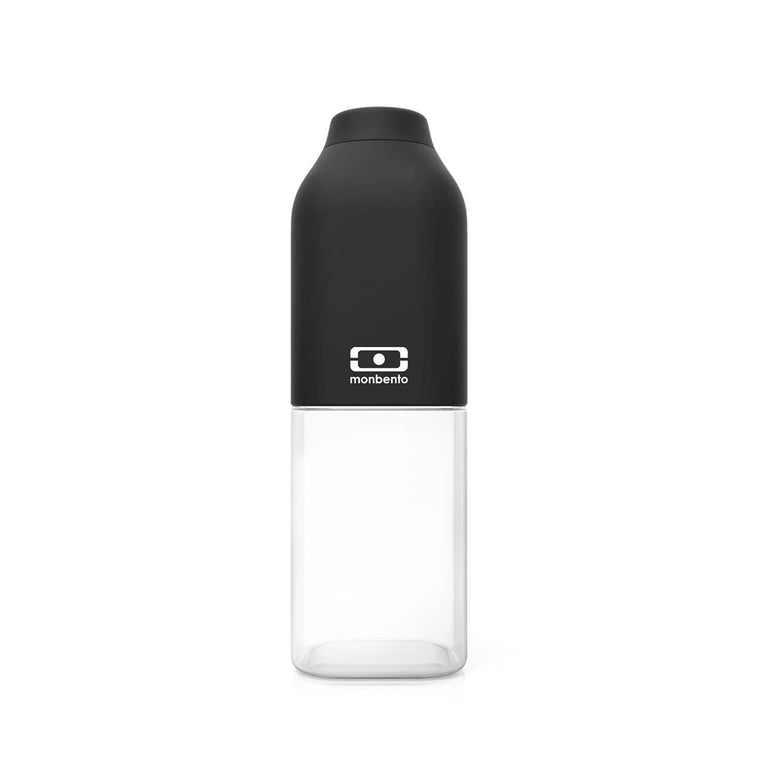 A Monbento Water bottle composed of clear tritan plastic and matte black silicon top.