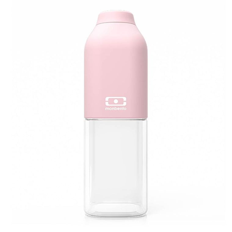 A Monbento Water bottle composed of clear tritan plastic and matte pastel pink silicon top.