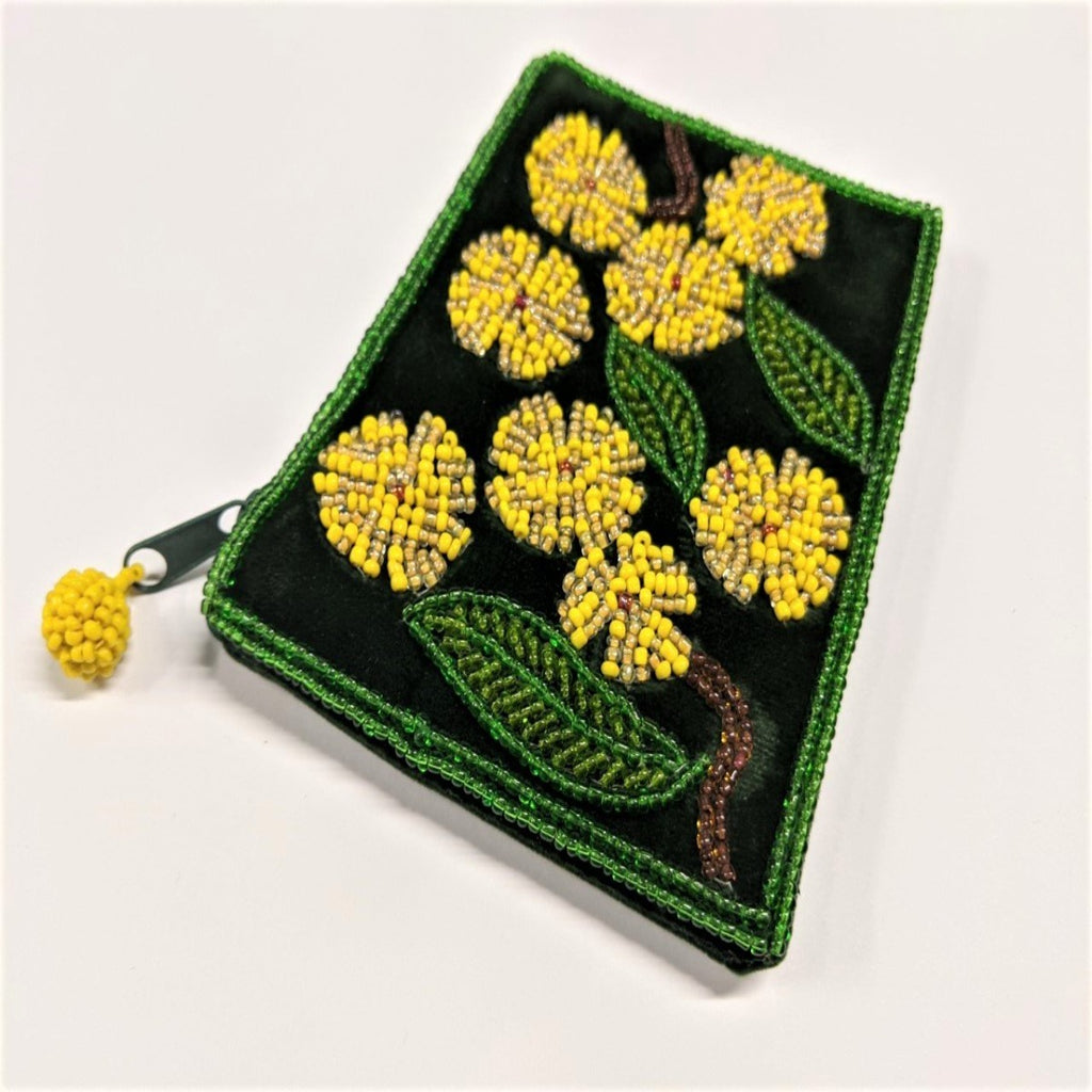Coin Purse | Beaded | Golden Wattle