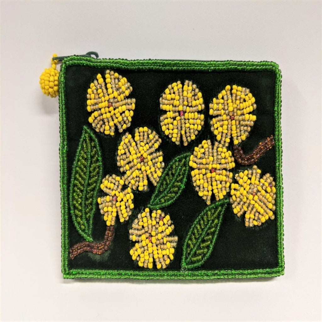 Coin purse featuring beaded image of a golden wattle