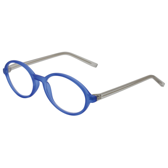 Brightly coloured blue oval frame with clear temples