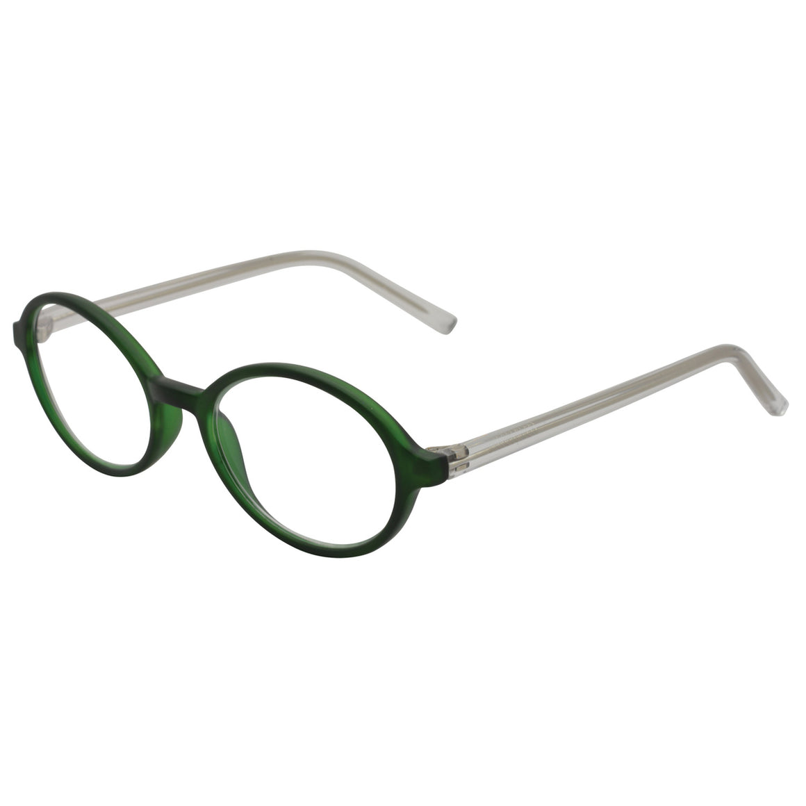 Brightly coloured green oval frame with clear temples