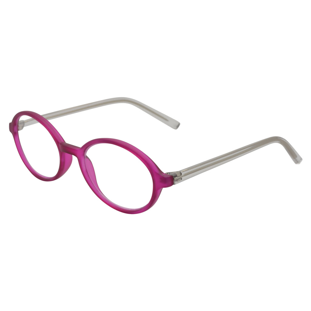 Brightly coloured fuschia oval frame with clear temples