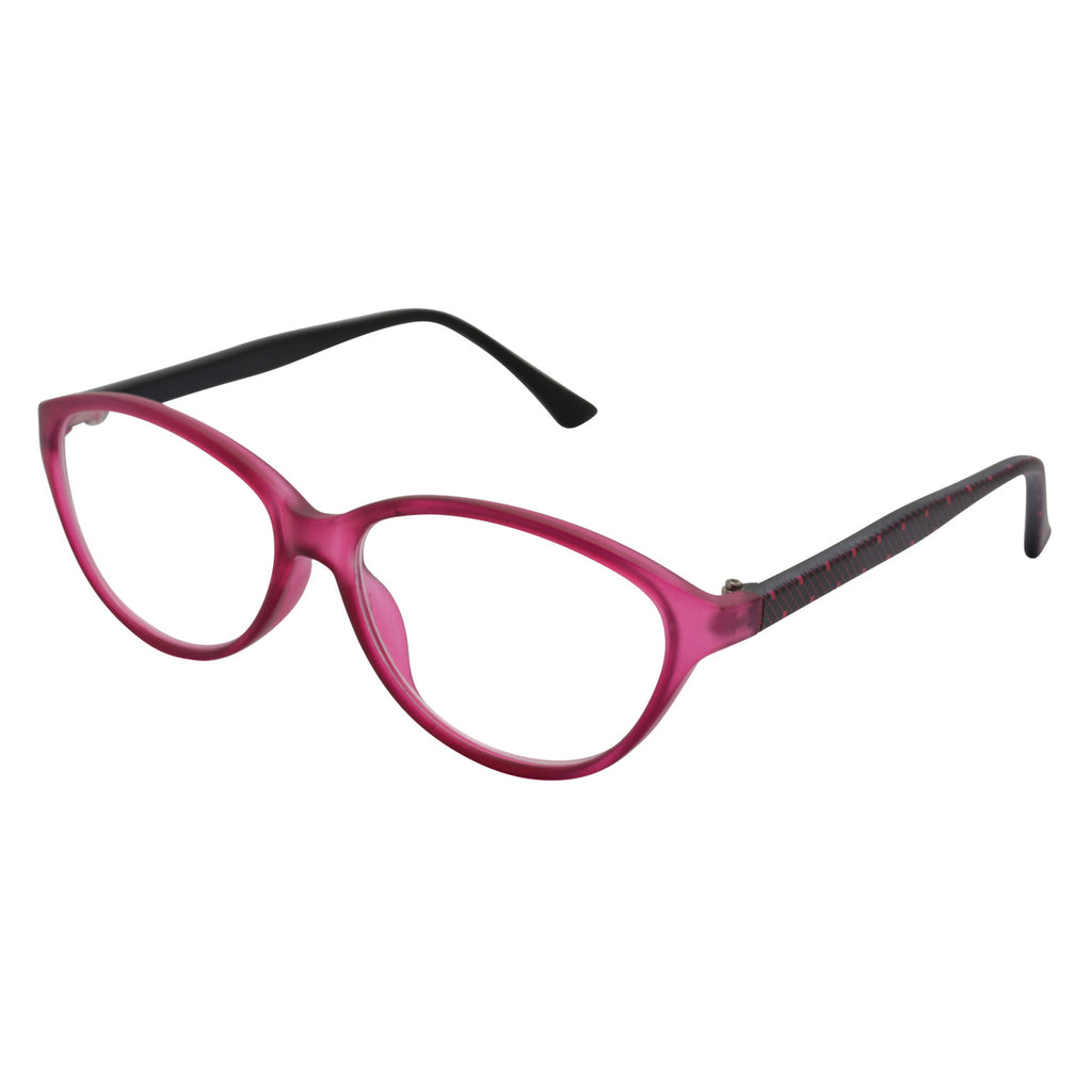 matt finish cyrstal glasses frames with coordinated lace print on matte black temples