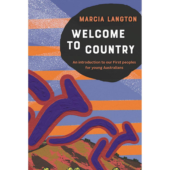 "The cover of a book entitled "" Welcome to country: An introduction to our First peoples for young Australians"". It features a details of a painting by Blak Douglas which depicts two kangaroos in front of a landscape."