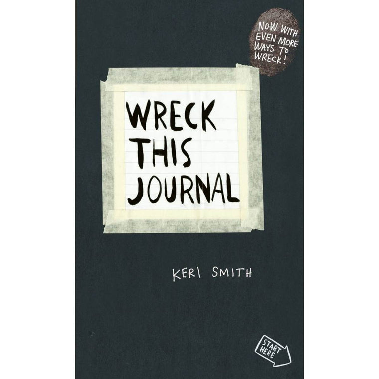 "A black book cover with a note attached with simulated masking tape. The text on the note reads ""Wreck this journal"""