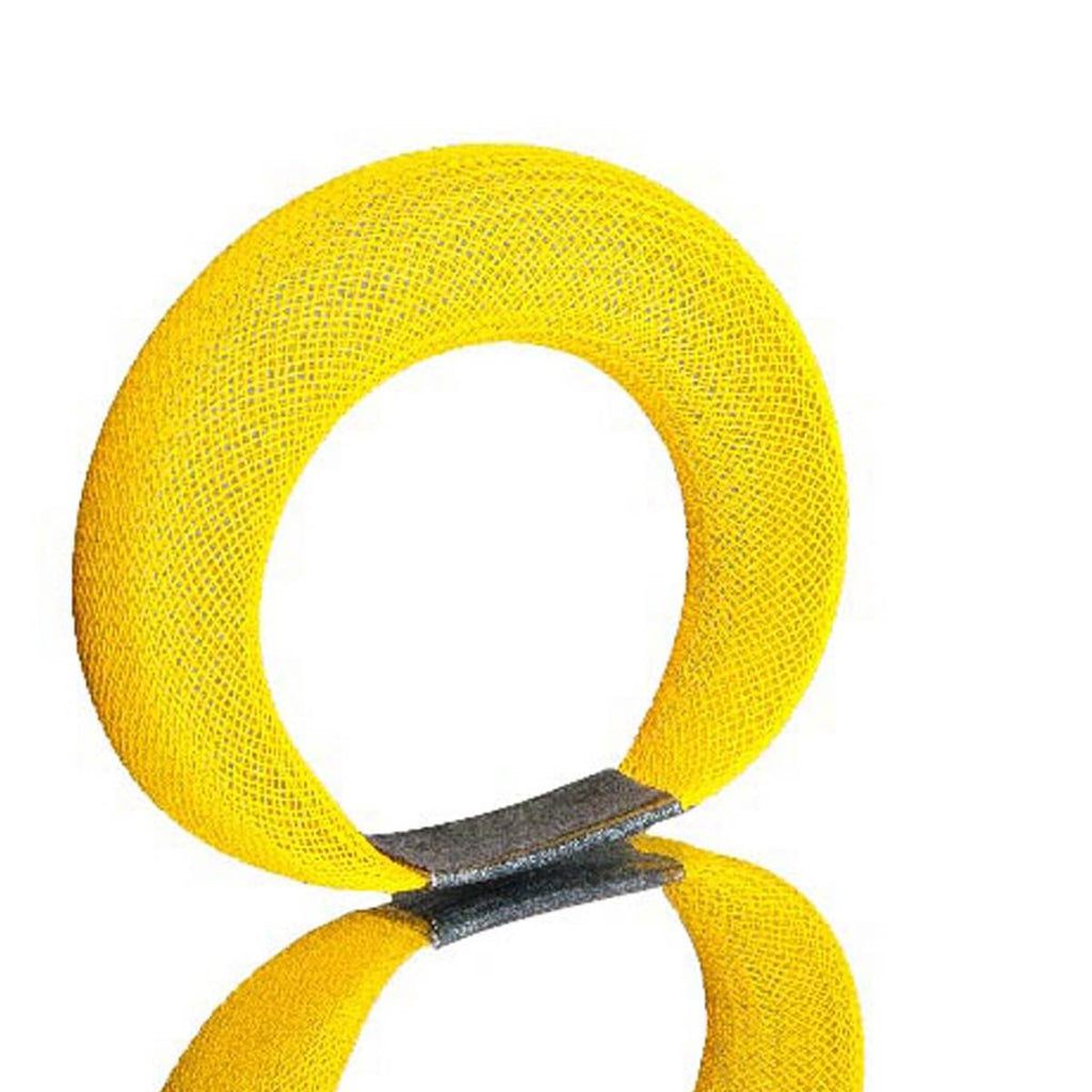 A yellow bracelet made from finely woven nylon mesh