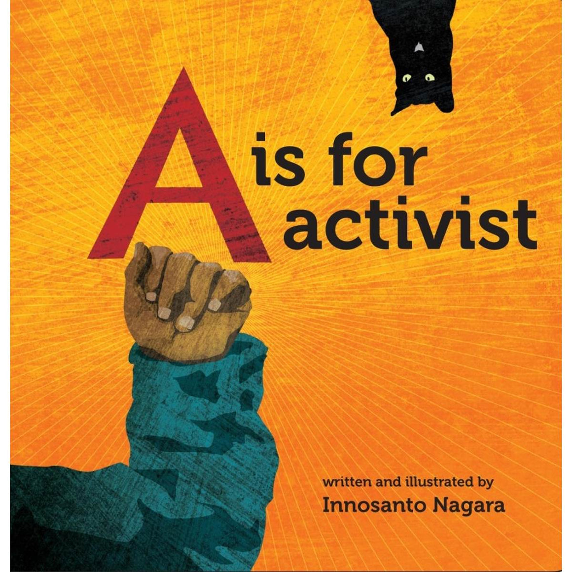 A book cover with a cover illustrations showing a black cat and a hand held up in the power pose on a bright orange and yellow background.