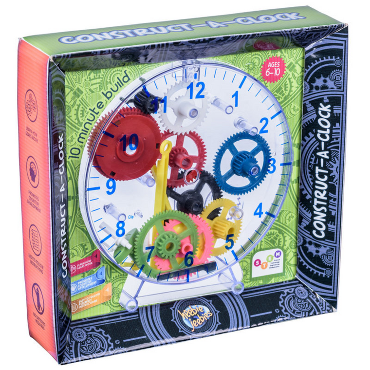 Image featuring the packaging of the Construct-A-Clock: 10 Minute Build which include an image of the final product