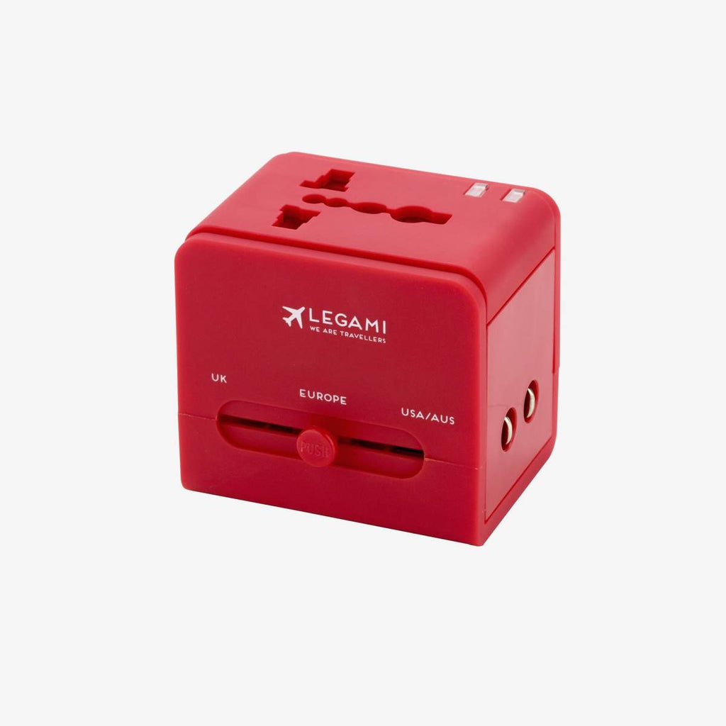 Universal Travel Adaptor in a red colour