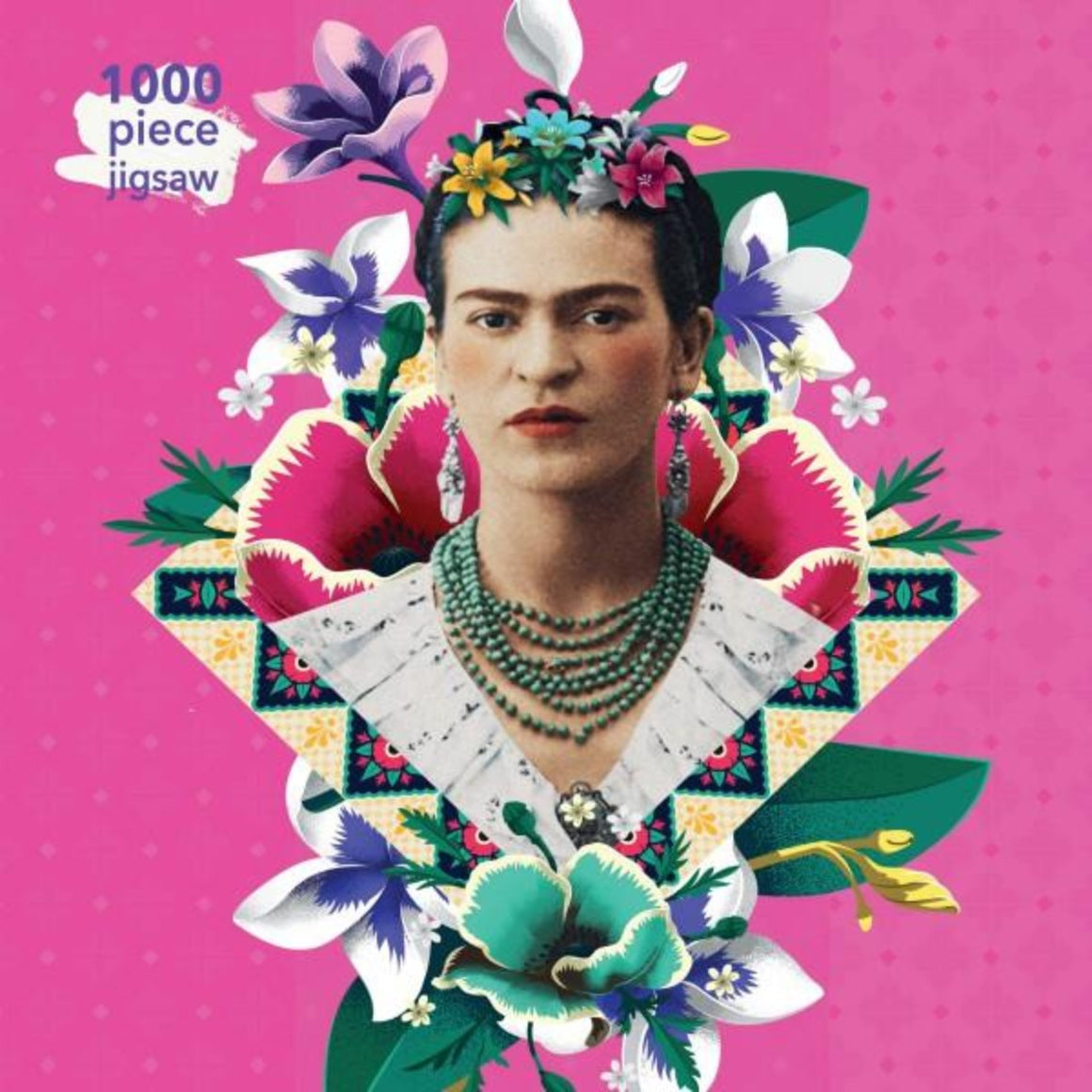 1000 Piece Jigsaw Puzzle with a pink background featuring a range of graphically illustrated flowers with a image of the mexican painter Frida Kahlo featured in the centre