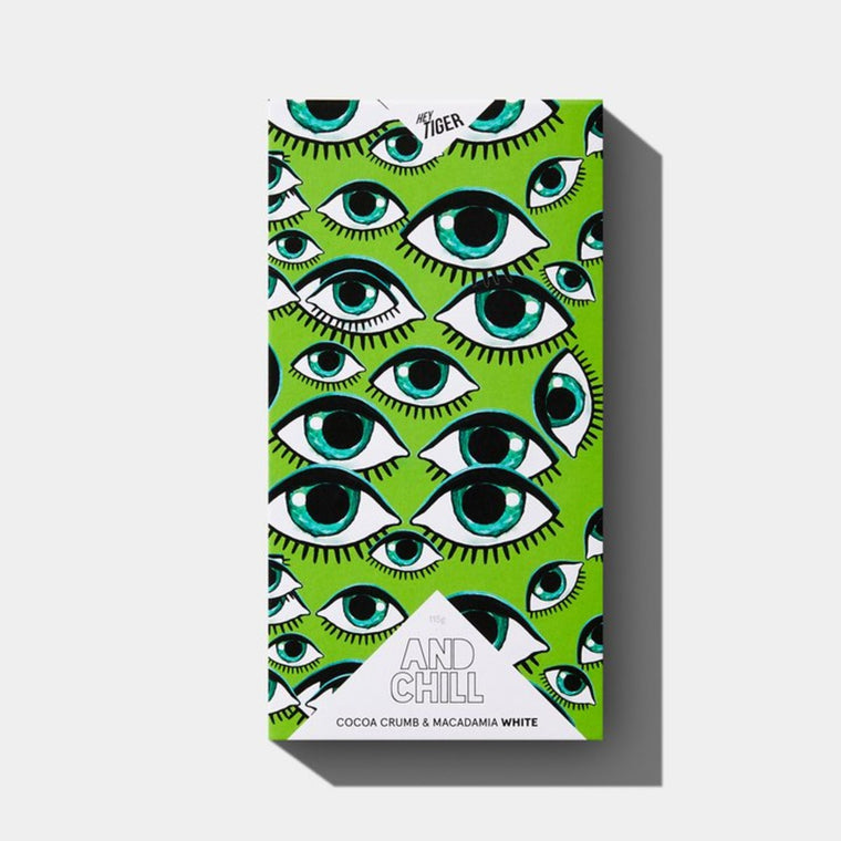 A block of chocolate. The packaging features a repeat image of an green eye on a green background.