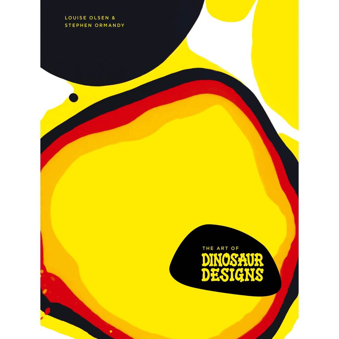A book cover featuring an abstract design in Red, orange yellow black and white,.