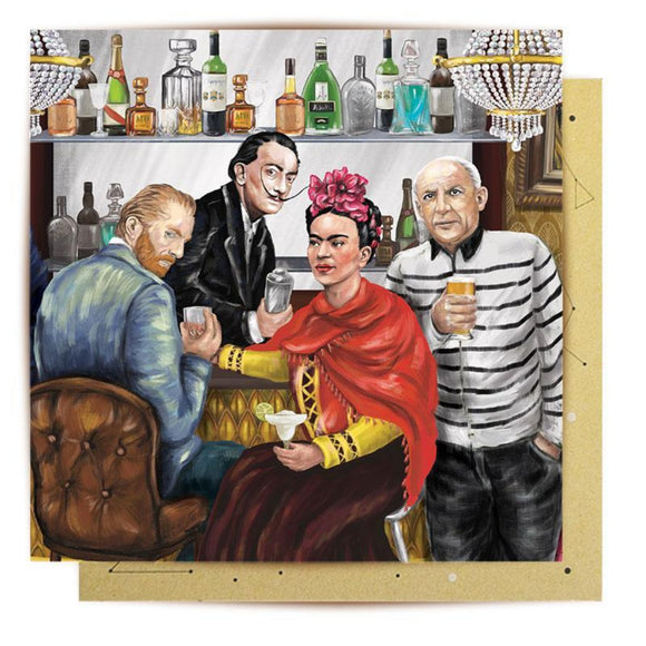 Greeting Card featuring illustration of various artists such as Frida Kahlo, Pablo Picasso, Vincent Van Gogh and Salvador Dali