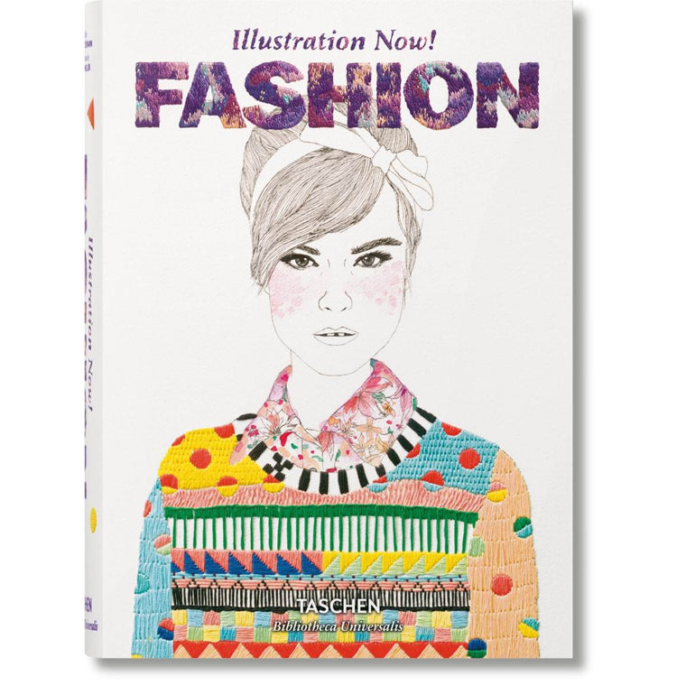 Book cover featuring female pencil illustration with a colourful jumper and featuring the words illustration now! Fashion