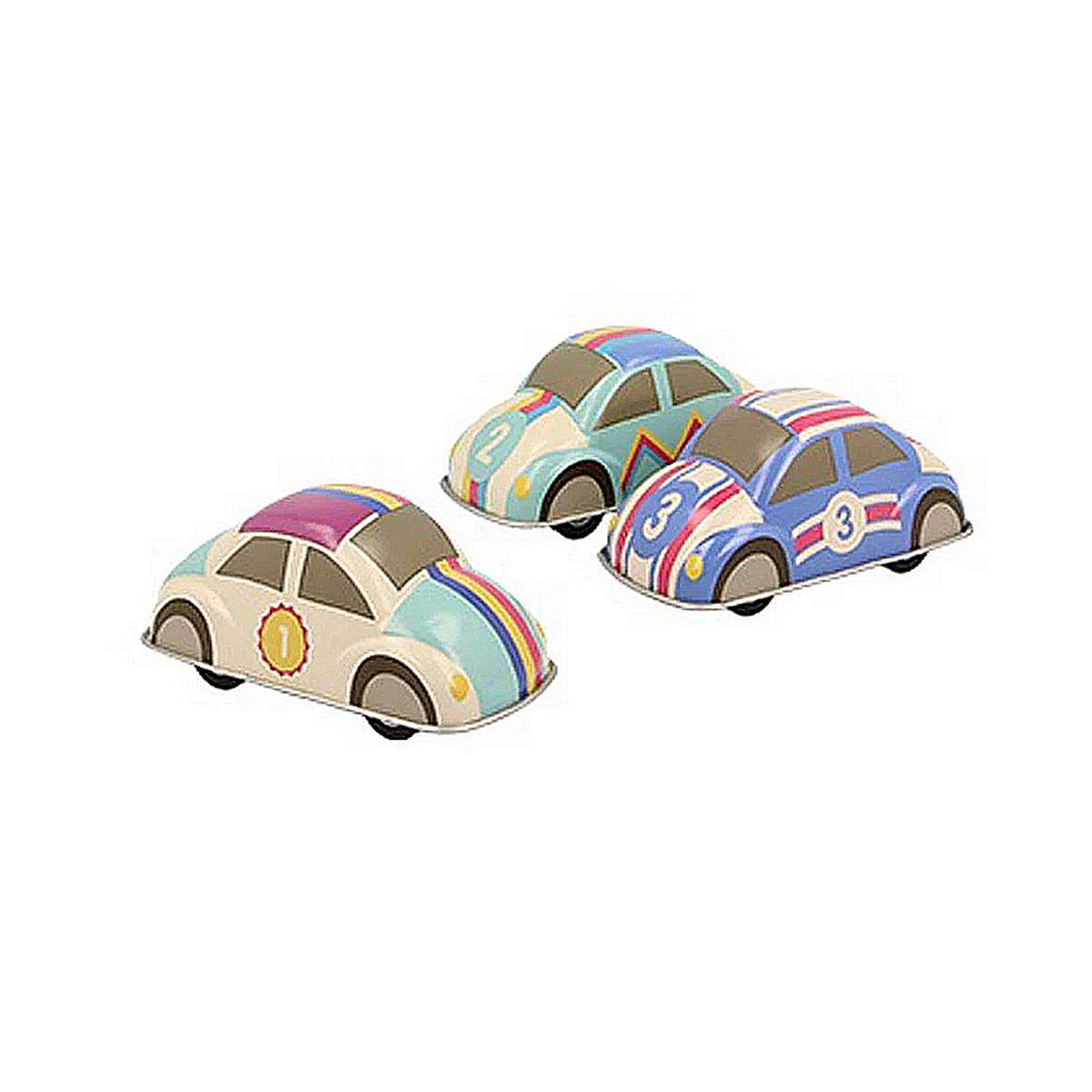 Three tin toy cars are shown in a group. In the Style of Volkswagon beetles, they are coloured in rainbow pastel tones, and are all marked with a number in the style of racing cars.