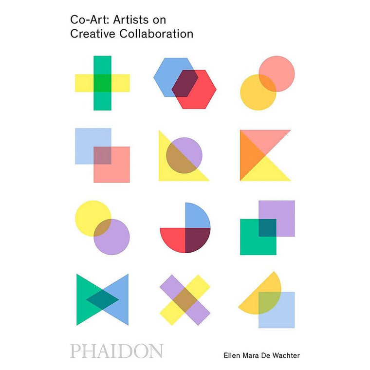 A white book cover featuring multiple shapes that have been overlaid on each other, to signify collaboration.