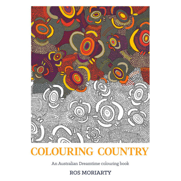 A white book cover featuring an aboriginal artwork, rendered as a colouring in design. It has been half coloured in with pink, red, orange grey and yellow tones
