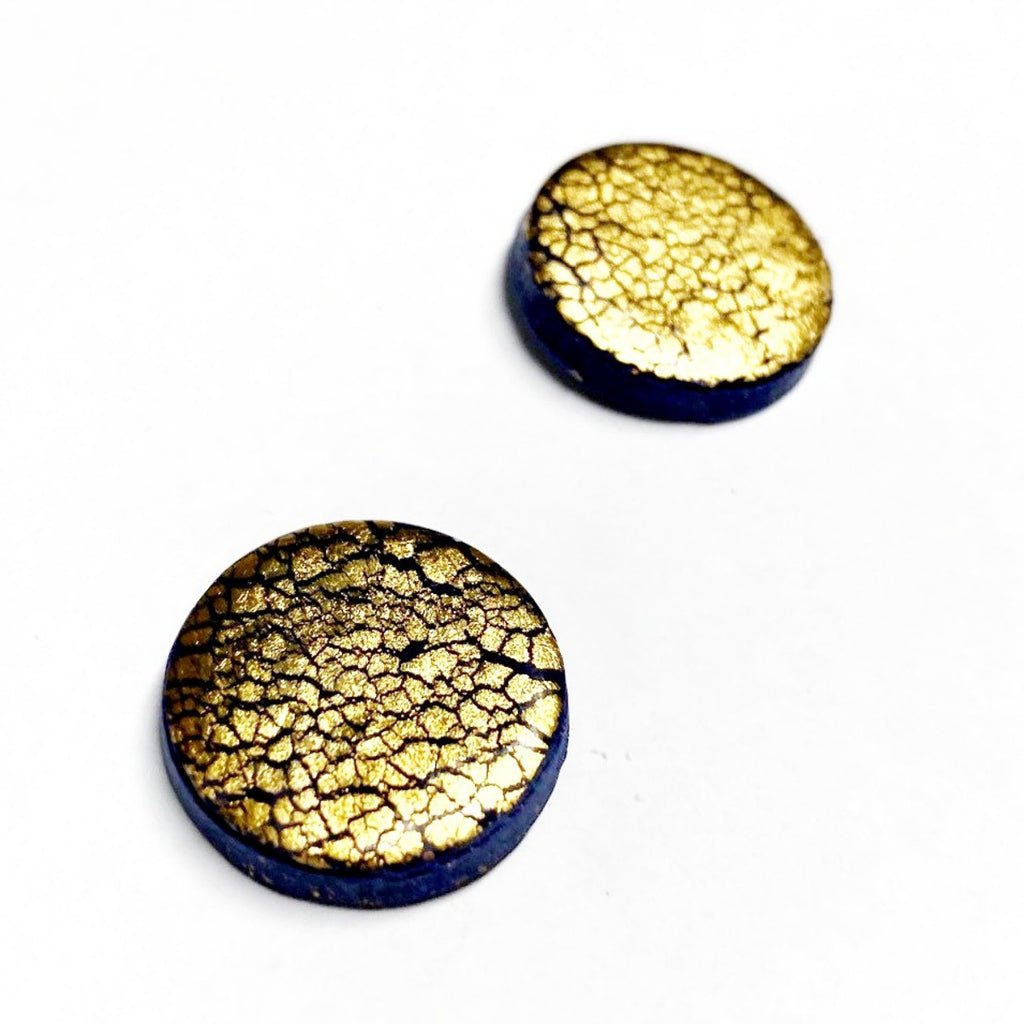 Earrings | Studs | Crackled gold clay studs