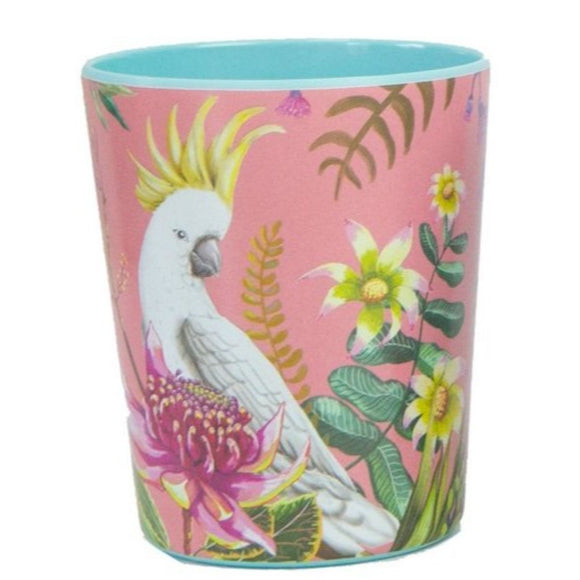 Enamel cup featuring an australian floral pattern with a cockatoo
