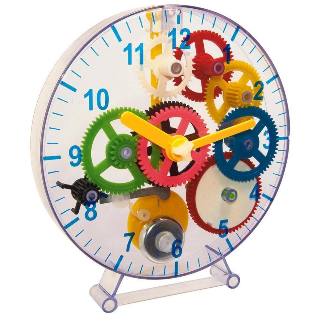 Image featuring the finalised product of the construct a clock, it highlights a variety of colourful gears