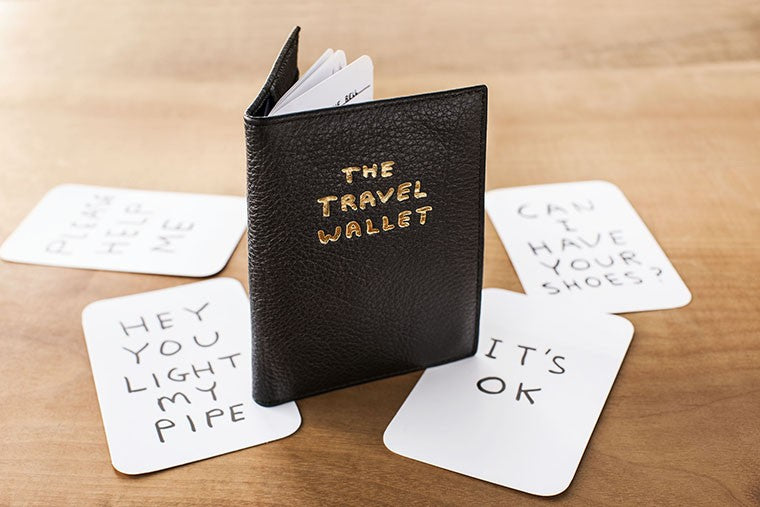 Travel Wallet featuring illustrations by David Shrigley