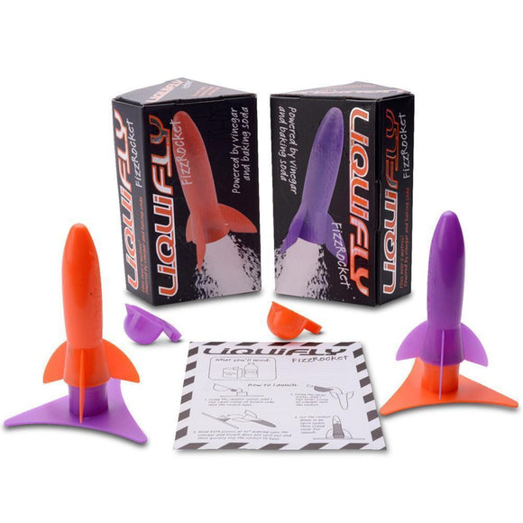 Image featuring two of the fizz rockets including their individual packaging as well as one of the rockets in purple and then orange, image also features the instructions at the front of the image