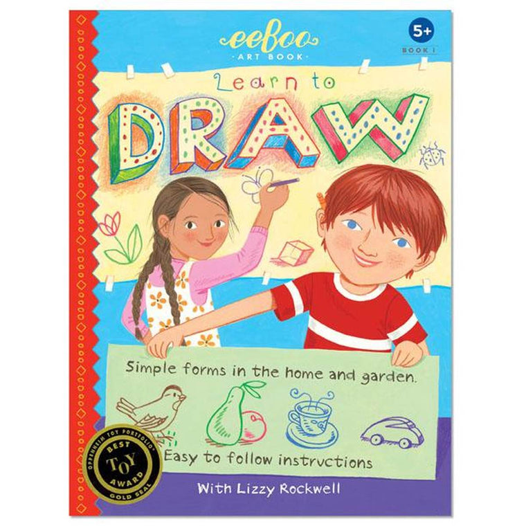 A childrens book cover showing a young boy and girl drawing.