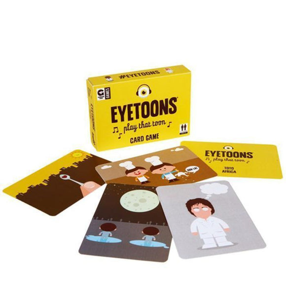 Image featuring the yellow packaging of the Eyetoons card game which features a graphic of an eye with headphones