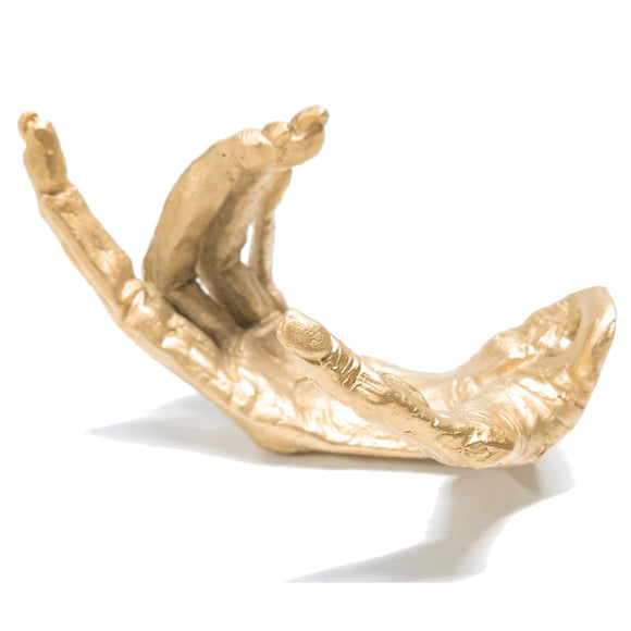 A wall mounted hook in the shape of a Gibbon's Hand. The finish is 24ct N18 Matte Gold.