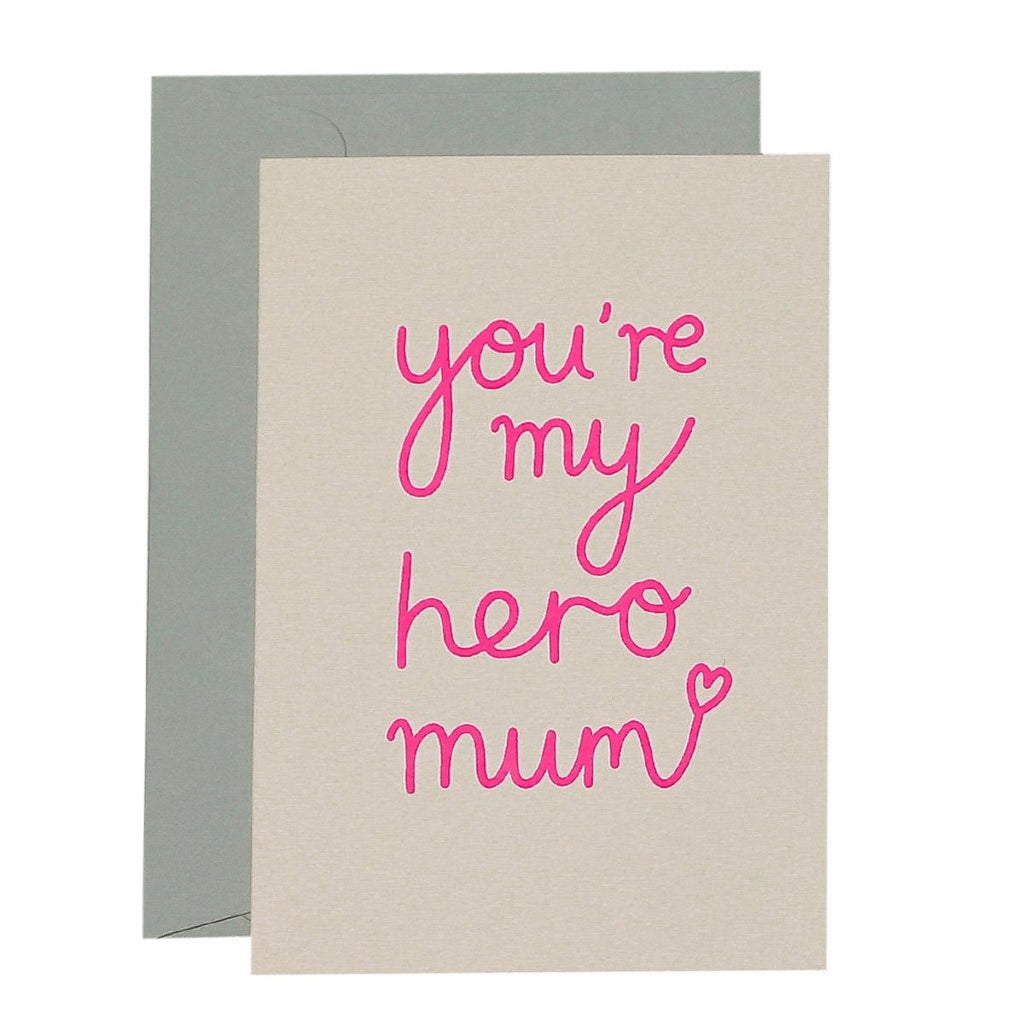 "Blush Pink Greeting Card with pink text "" you're my hero mum"""