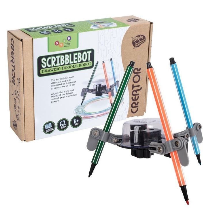 Image featuring the packaging of the Scribblebot which includes a photograph of the item and in the front features a product shot of the scribblebot which holds the motor and three pens in various colours
