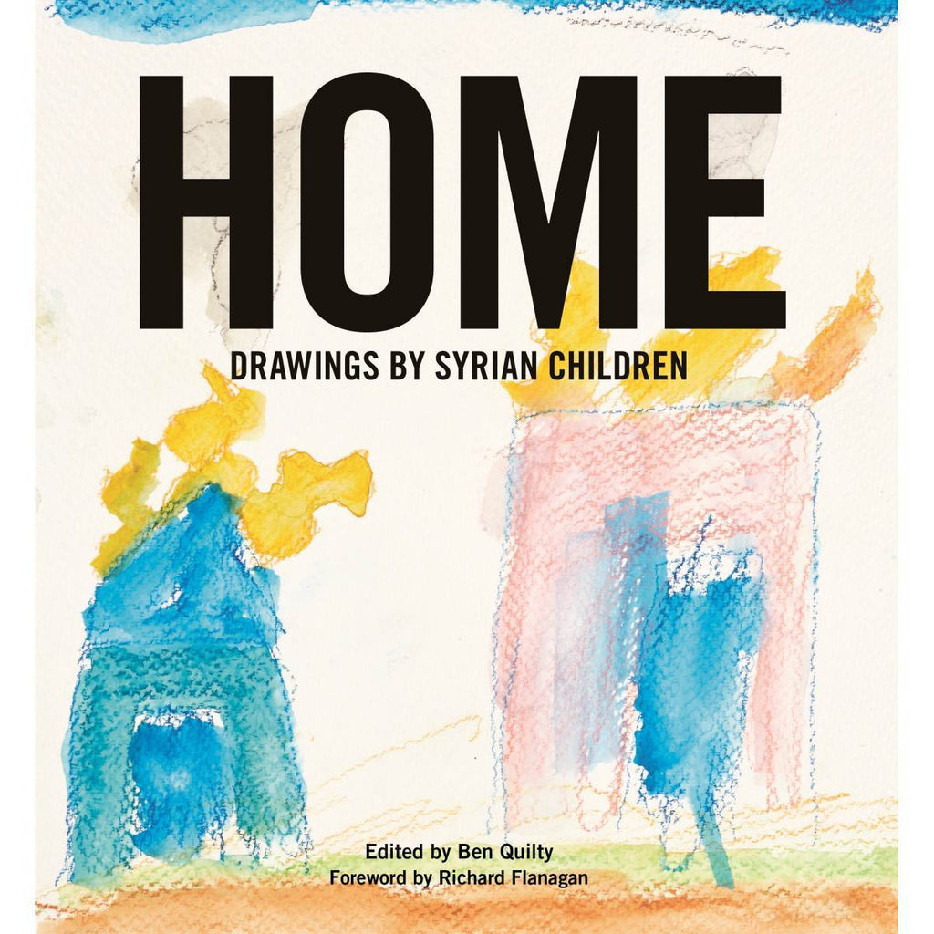 A book cover with Children's painting on its cover. The painting is a simplified watercolour and crayon depiction of two houses on fire.
