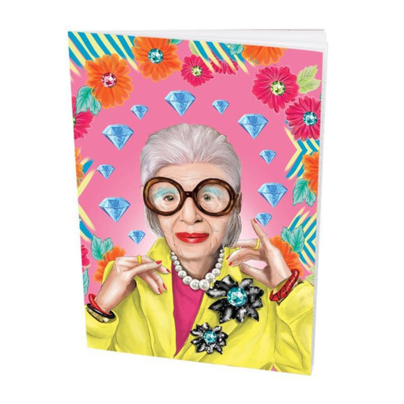 Pocket Book featuring an illustration of fashion icon Iris Apfel
