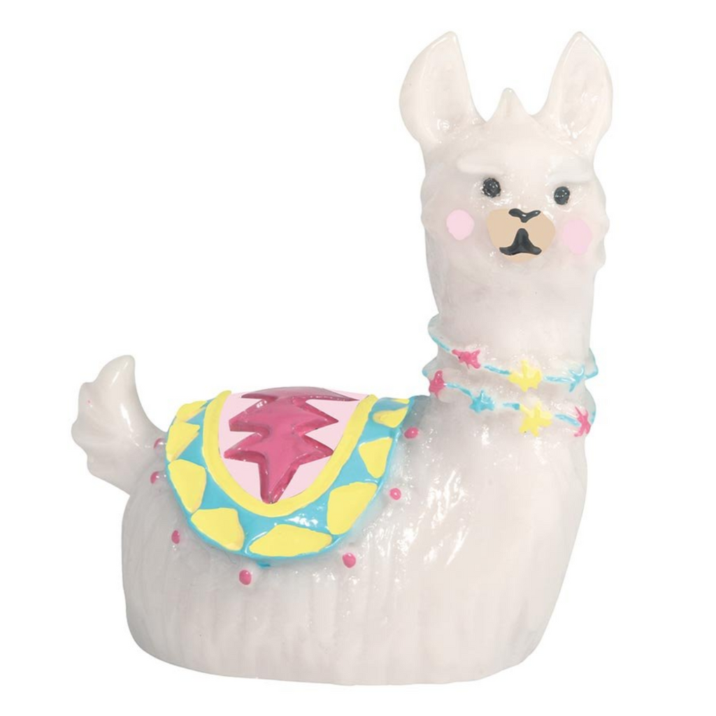 Image featuring a llama lip gloss in the centre which has a pink saddle on its back