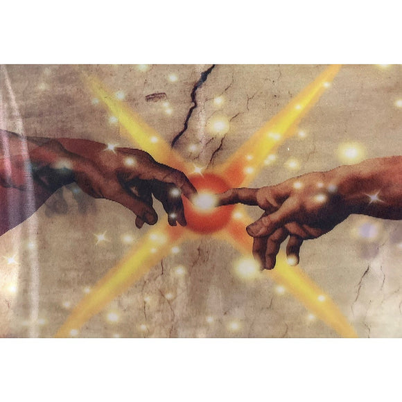 A Lenticular postcard that shows the outreached fingers of  Michelangelos masterpiece, coming together and touching!
