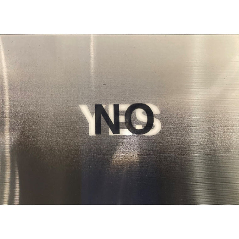 A Lenticular postcard that shows the word NO transition to the word YES
