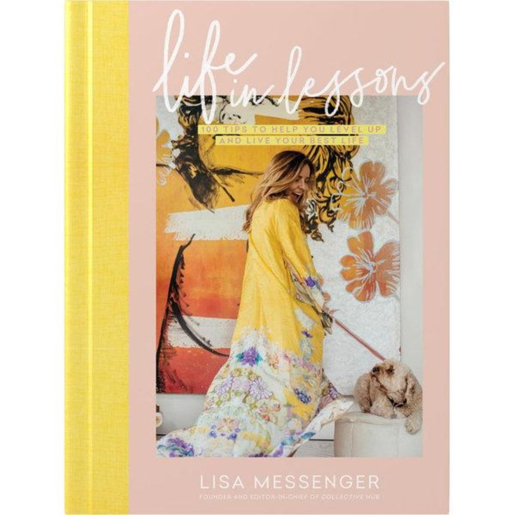 Image featuring a book cover with a yellow spine and a pastel pink with a photograph in the middle with a figure in the center and a dog - text above it stating - Life in lessons: 100 tips to help you level up and live your best life