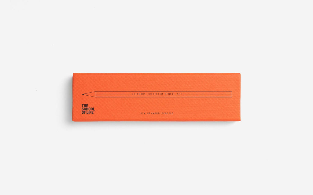 The School of Life pencil set with orange packaging featuring the word Literary Criticism set