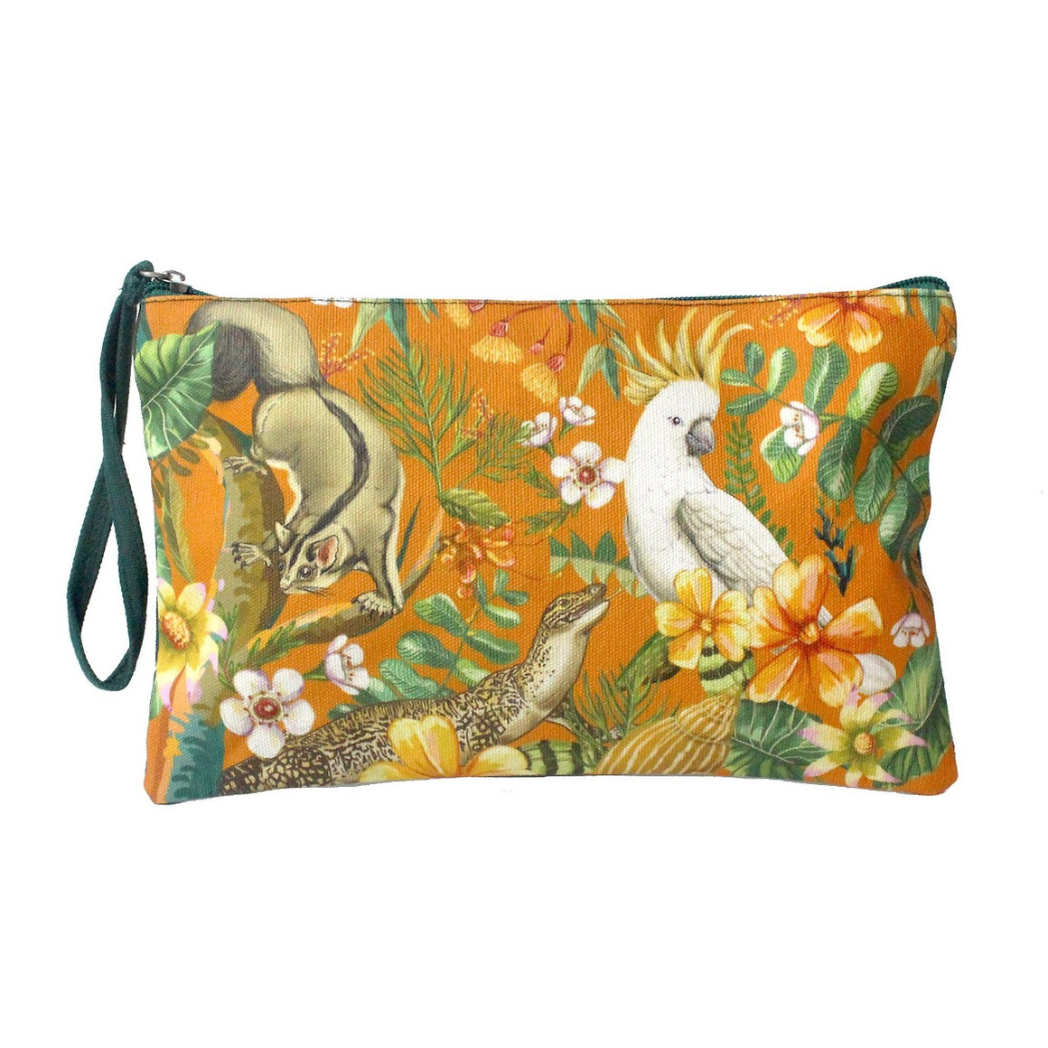 Clutch purse featuring a yellow background with a variety of floral designs including a sugar glider, lizard and cockatoo