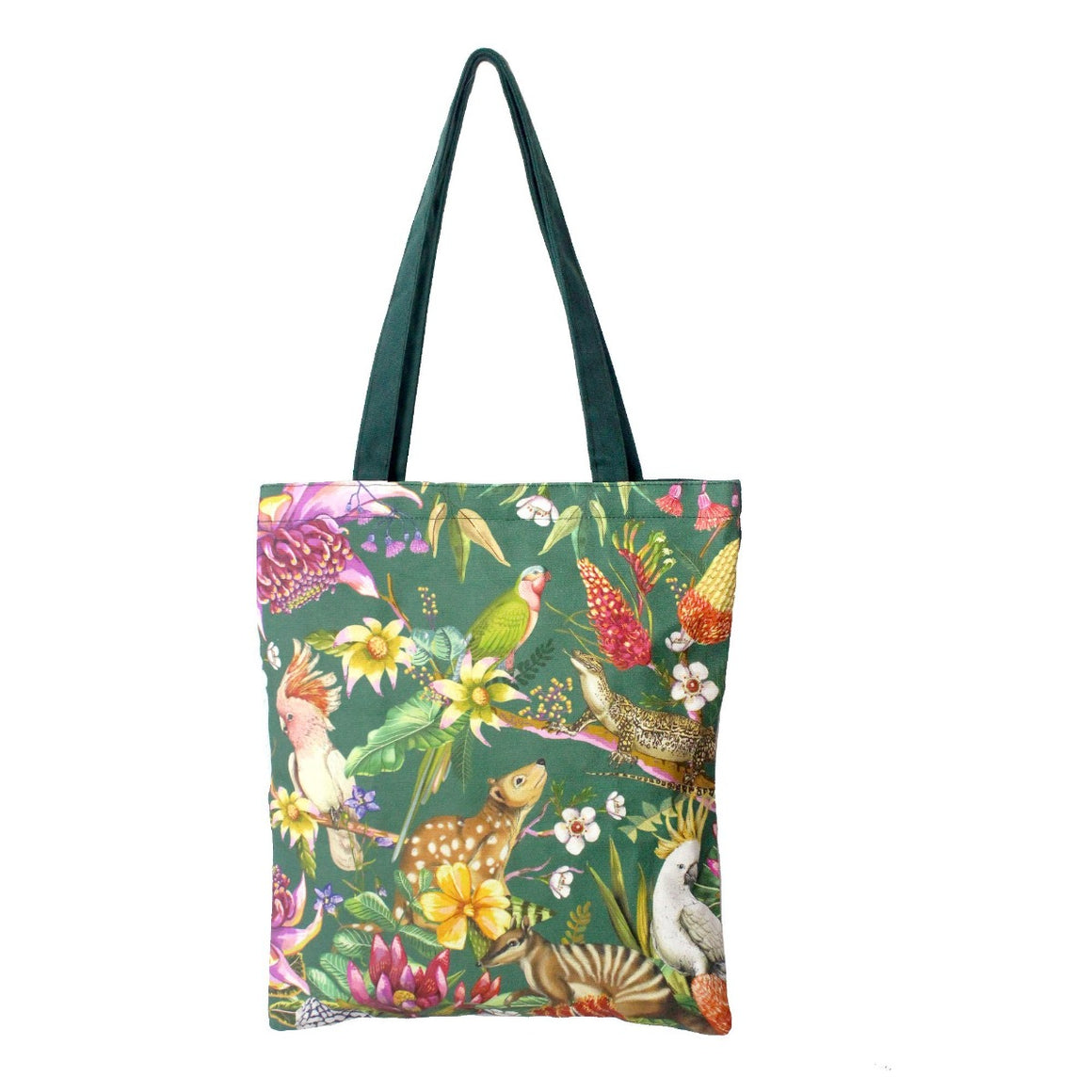 Image featuring a tote bag with a green background, australian florals and a variety of australian animals such as australian king parrot, numbat and quoll