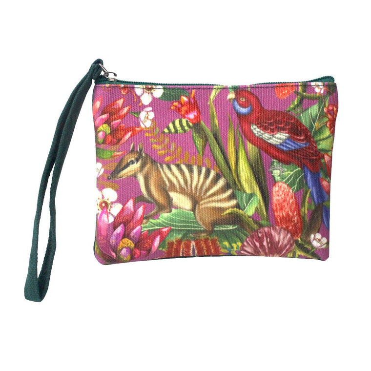 Image featuring a coin purse in the center which includes an illustrated design of an Australian Numbat and Rosella also including a variety of Australian florals