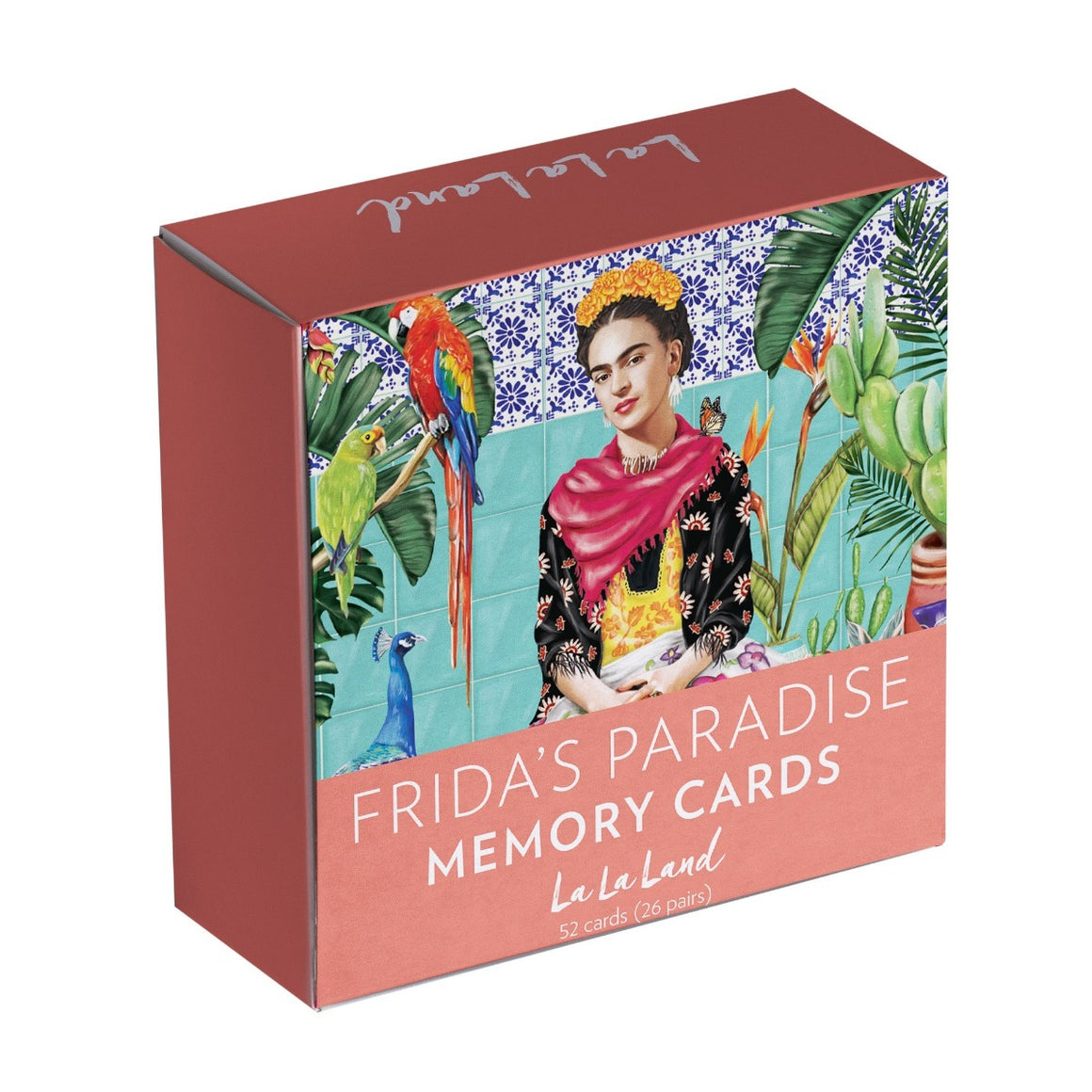 Pink Packaging Box featuring a illustration of the Mexican painter Frida Kahlo surrounded by plants, cacti, tropical birds such as parrots and a peacock