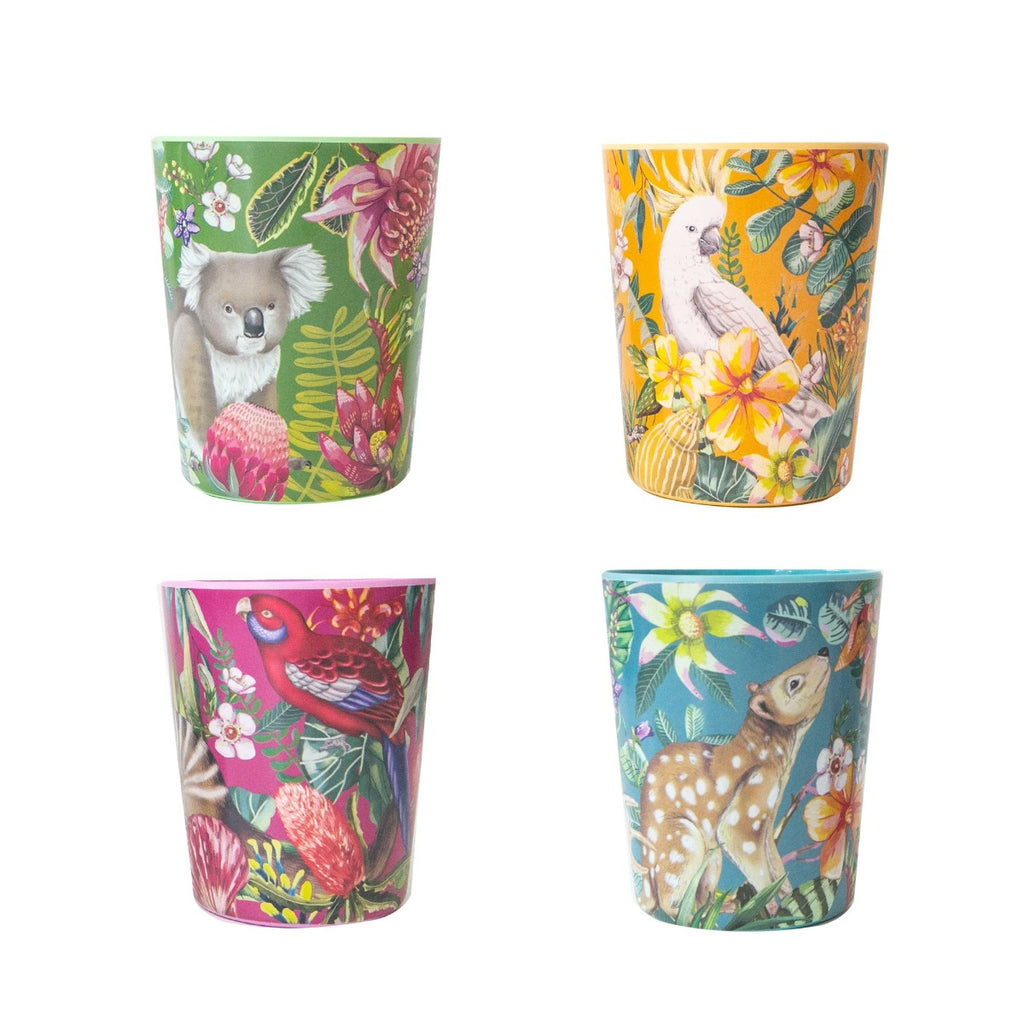 Image featuring four cups with a variety of australian flora and fauna on them