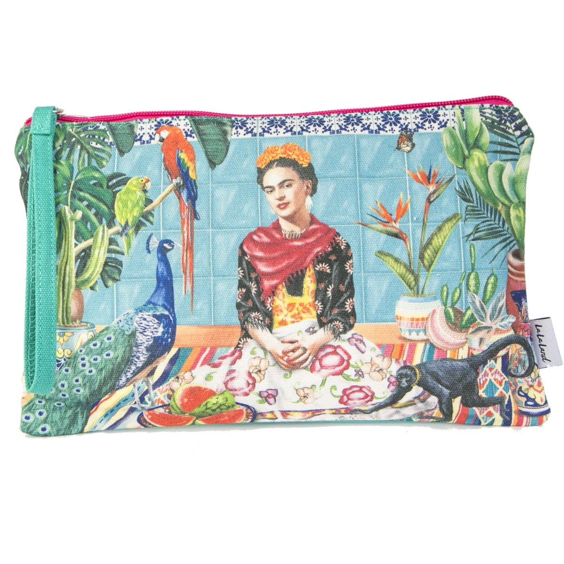 Clutch Purse featuring birds, monkey, floral pattern and frida kahlo