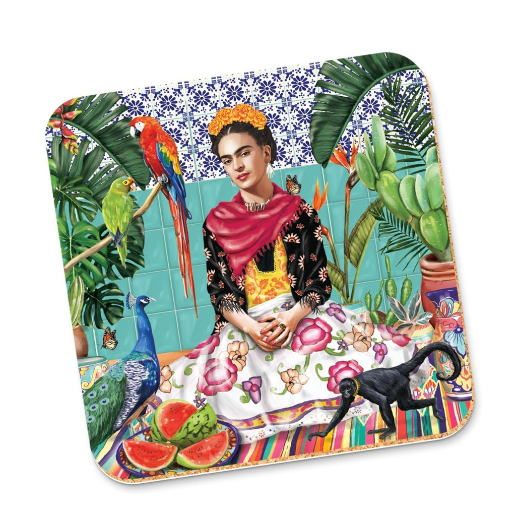 Image featuring frida kahlo sitting in her home surrounded by a variety of plants and animals