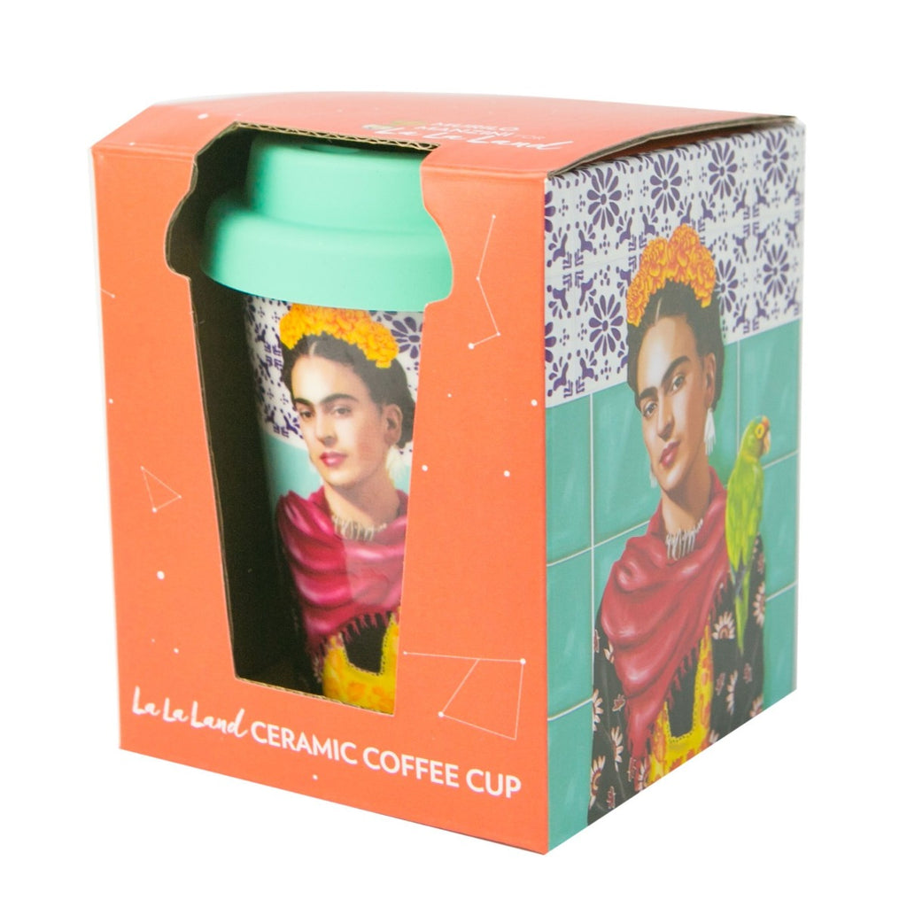 Orange Box packing featuring a ceramic cup inside which has an image of Frida Kahlo on it