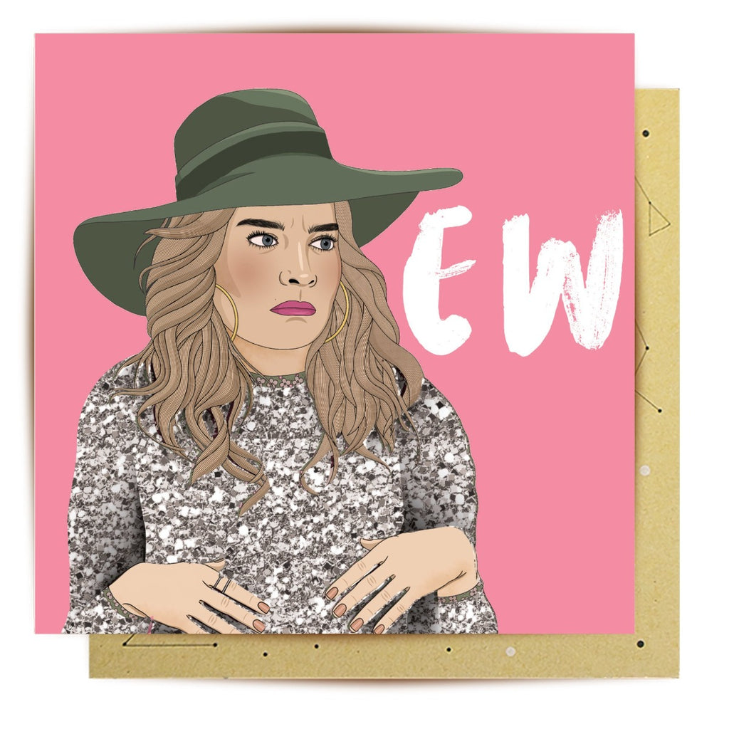 Image featuring a greeting card with a pink background and an illustration of the character Alexis from the tv show Schitts Creek which features the word Ew on the right hand side of the card