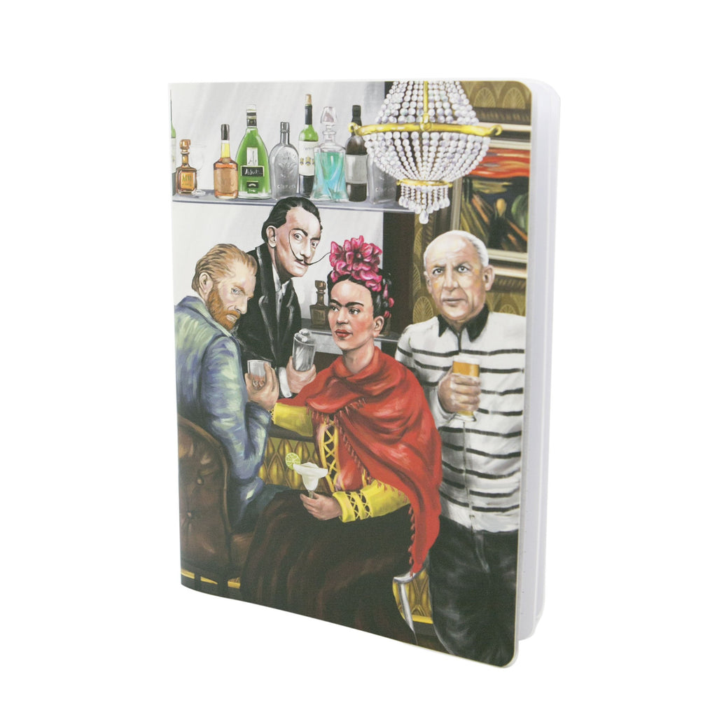Soft Cover Note Book featuring an illustration of various artist including vincent van gogh and frida kahlo