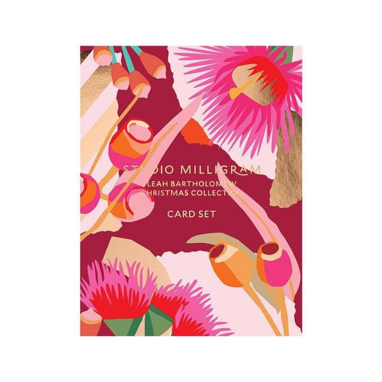 Image featuring a box of the Card set packaging which is featured in red including a selection of graphically illustrated australian florals such as gum leaves and gum nuts